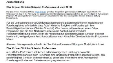 Ausschreibung Else Kröner Clinician Scientist Professuren