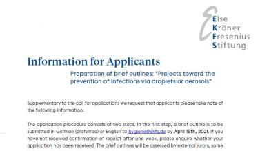 Information for Applicants: Infections via Droplets